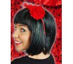 Haarstukje met rode bloemen en pluim spaans
